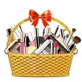 Vector Basket with Makeup Cosmetics Stock Image