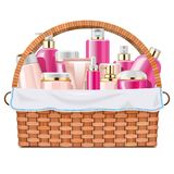 Vector Basket with Skin Grooming Products Stock Image