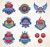 Vector Basketball Logos 2. Collection of eight colorful Vector Basketball logo and insignias Royalty Free Stock Photography
