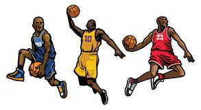 Basketball player set. Vector of basketball player set stock illustration