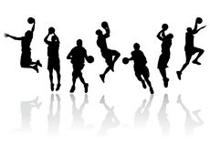 Vector Basketball Player Silhouettes Royalty Free Stock Images