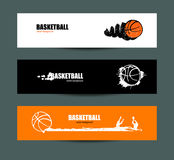 Vector basketball, set of banners, Sketches. Vector basketball, set of banners, retro. Sketches. A flying ball, grunge style. EPS file is layered Stock Photos