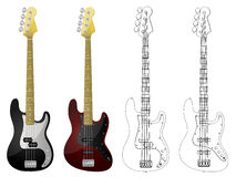 Vector Bass Guitars. Vector isolated image of bass guitars on white background Royalty Free Stock Images
