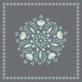 Vector bastante azul y diseño popular floral gris, ideal para el bordado, o la tarjeta Ilustración del vector stock de ilustración