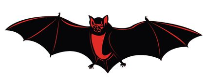 Vector bat. Silhouette on white background Royalty Free Stock Photos