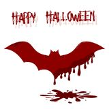 Bat illustration with dripping blood. Template of Happy Halloween card. Royalty Free Stock Photo