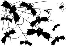 Vector bat and spider Royalty Free Stock Image
