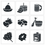 Vector Bath Accessories Icons Set. Bath Icon flat collection isolated on a white background stock illustration