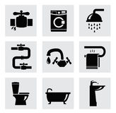 Vector bathroom icon set Stock Photos