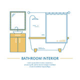 Vector bathroom interior design brochure cover in line style. Flyer home decoration. Business presentation minimalistic Royalty Free Stock Photo
