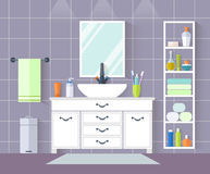 Vector bathroom. Interior design with furniture in flat style. Stock Image