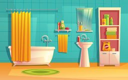 Vector bathroom interior, room with furniture, bathtub. Shelves, mirror, faucet, curtain, sink washing gel shampoo Household background cartoon architecture royalty free illustration