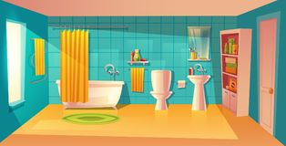 Vector bathroom interior, room with furniture, bathtub. Vector bathroom interior, room with furniture. White bathtub with curtain, closet with shelves and royalty free illustration
