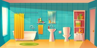 Vector bathroom interior, room with furniture. Vector bathroom interior with window. Room with furniture, bathtub and accessories. Shelves with washing gel royalty free illustration