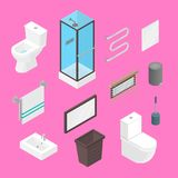 Vector bathroom isometric furniture interior elements set. Lavatory elements and equipment set isolated on plain. Vector bathroom isometric furniture interior Royalty Free Stock Images