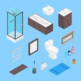 Vector bathroom isometric furniture interior elements set. Lavatory elements and equipment set isolated on plain. Vector bathroom isometric furniture interior Royalty Free Stock Photos