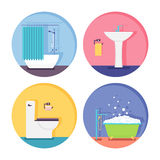 Vector bathroom and toilet icons. Bathroom and restroom icons. Modern vector illustration in flat style Stock Photo