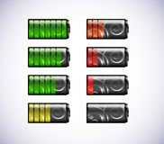 Vector batteries icons. Stock Images