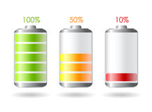 Vector battery icon. Vector batteries set illustration over white Royalty Free Stock Images