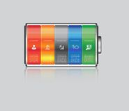 Vector battery element infographic template. Design concept for presentation, graph, diagram and chart.  5 options Royalty Free Stock Photo