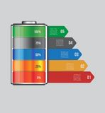 Vector battery element infographic template. Design concept for presentation, graph, diagram and chart.  5 options Stock Photos