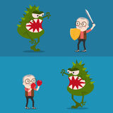 Vector battle between old man with virus. Battle between old man with virus Stock Photos