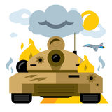 Vector Battle tank crash. Flat style colorful Cartoon illustration. The remains of the burning armored vehicles. Isolated on a white background Stock Photos