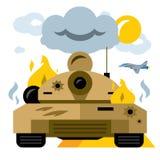 Vector Battle tank crash. Flat style colorful Cartoon illustration. Stock Photos