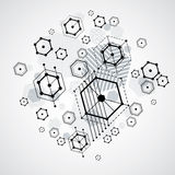 Vector Bauhaus abstract background made with grid and overlappin Royalty Free Stock Photography