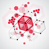 Vector Bauhaus abstract background made with grid and overlappin Royalty Free Stock Photo