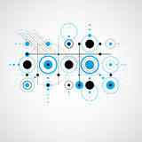 Vector Bauhaus blue abstract background made with grid and overl Royalty Free Stock Image