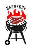 Vector bbq grill. Vector steak bbq and grill fire emblem Royalty Free Stock Photography