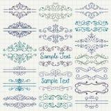 Vector BColorful Pen Drawing Dividers, marcos Fotos de archivo