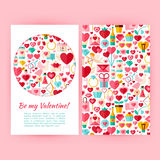Vector Be My Valentine Banners Set Template. Be My Valentine Banners Set Template. Flat Style Vector Illustration of Brand Identity for Wedding Promotion Royalty Free Stock Photos