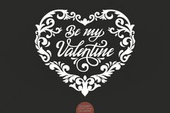 Vector Be my Valentine text decorated with ornamental heart. Valentine s typography in heart shaped frame. Elegant Royalty Free Stock Image