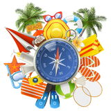 Vector Beach Accessories with Compass Royalty Free Stock Photo
