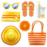 Vector Beach Accessories. Isolated on white background Royalty Free Stock Photo