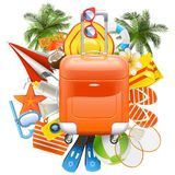 Vector Beach Accessories with Rolling Bag Stock Photography
