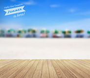 Vector beach chairs with wood planks floor background Royalty Free Stock Image