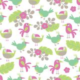 Vector Beach cheerful seamless pattern wallpaper of tropical green leaves of palm trees,flowers and birds seamless royalty free illustration