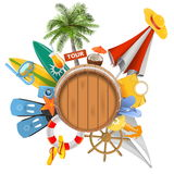 Vector Beach Concept with Barrel Royalty Free Stock Photo