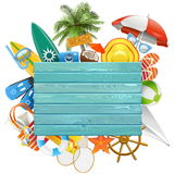 Vector Beach Concept with Blue Board Stock Photography
