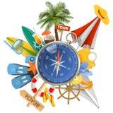 Vector Beach Concept with Compass Royalty Free Stock Photos