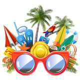 Vector Beach Concept with Red Sunglasses Stock Images
