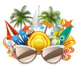 Vector Beach Concept with Sunglasses Royalty Free Stock Image