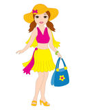 Vector Beach Girl Royalty Free Stock Photos