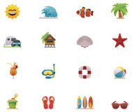 Vector beach icon set Royalty Free Stock Photos