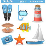Vector Beach Icons Set 4 Stock Photos