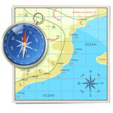 Vector Beach Map with Compass Stock Image