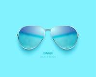 Vector beach sea and sky reflection sunglasses Royalty Free Stock Photography